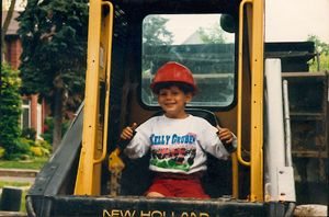 Child in construction vehicle